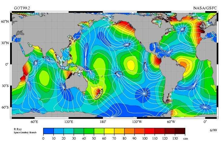 Carte océanique des points amphidromiques. Ces points où la marée est nulle sont situés à l'intersection des lignes blanches. © NASA / Goddard Space Flight Center, Jet Propulsion Laboratory, Topex/Poseidon