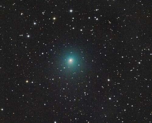 La comète 41P/Tuttle-Giacobini-Kresak photographiée par un astronome amateur allemand. Sa queue n'est pas visible. On voit bien en revanche sa chevelure.
