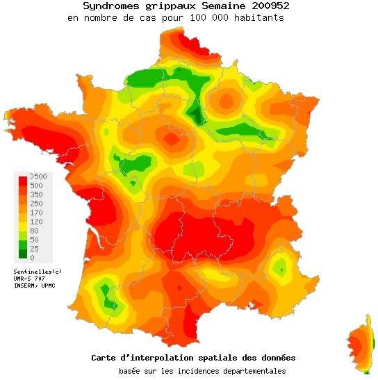 La carte des syndromes grippaux pour la 52ème semaine de 2009 (du 21 au 27 décembre). De l'orange foncé au rouge, le seuil épidémique (177 cas pour 100.000) est dépassé. © Sentiweb