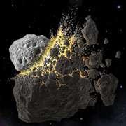 Quelque part, entre Mars et Jupiter, un astéroïde en percute un autre (vue d'artiste). Le sort des dinosaures est scellé : ils n'ont plus que 100 millions d'années à vivre... © SwRI/Don Davis