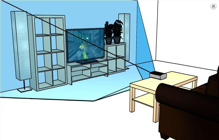 Voici une représentation du concept IllumiRoom. Sur la table de salon est posé le vidéoprojecteur associé au capteur Kinect. Ce dernier détecte les dimensions de la pièce et les couleurs, afin de calibrer le système. Le projecteur diffuse les effets sur l'intégralité du mur sur lequel se trouve le téléviseur, en adaptant les contrastes aux meubles et éléments de décor présents. © Microsoft