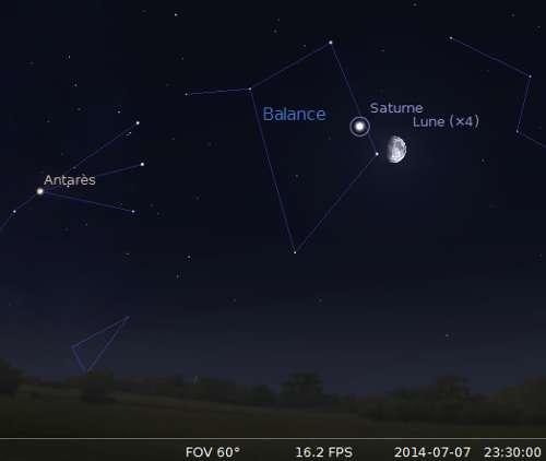 Le 07/07/2014 : la Lune en rapprochement avec Saturne. © DR