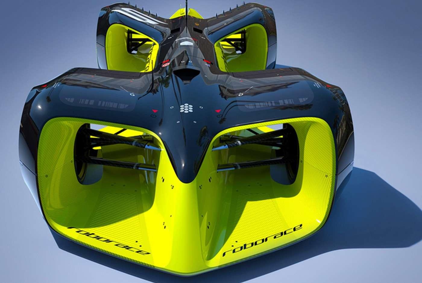 Voici à quoi ressembleront les voitures de course autonomes qui participeront à la Roborace. Si le design et le matériel sont identiques pour les dix équipes, celles-ci devront faire la différence sur leur travail au niveau des algorithmes de conduite. Une première démonstration doit avoir lieu durant la saison 2016/2017 du championnat de Formule E. © Roborace