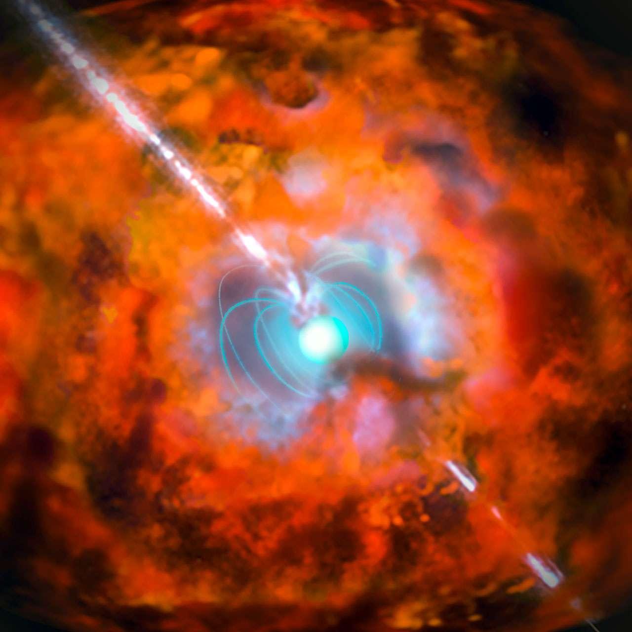 Illustration d'un sursaut gamma et d'une supernova alimentés par un magnétar. © Eso