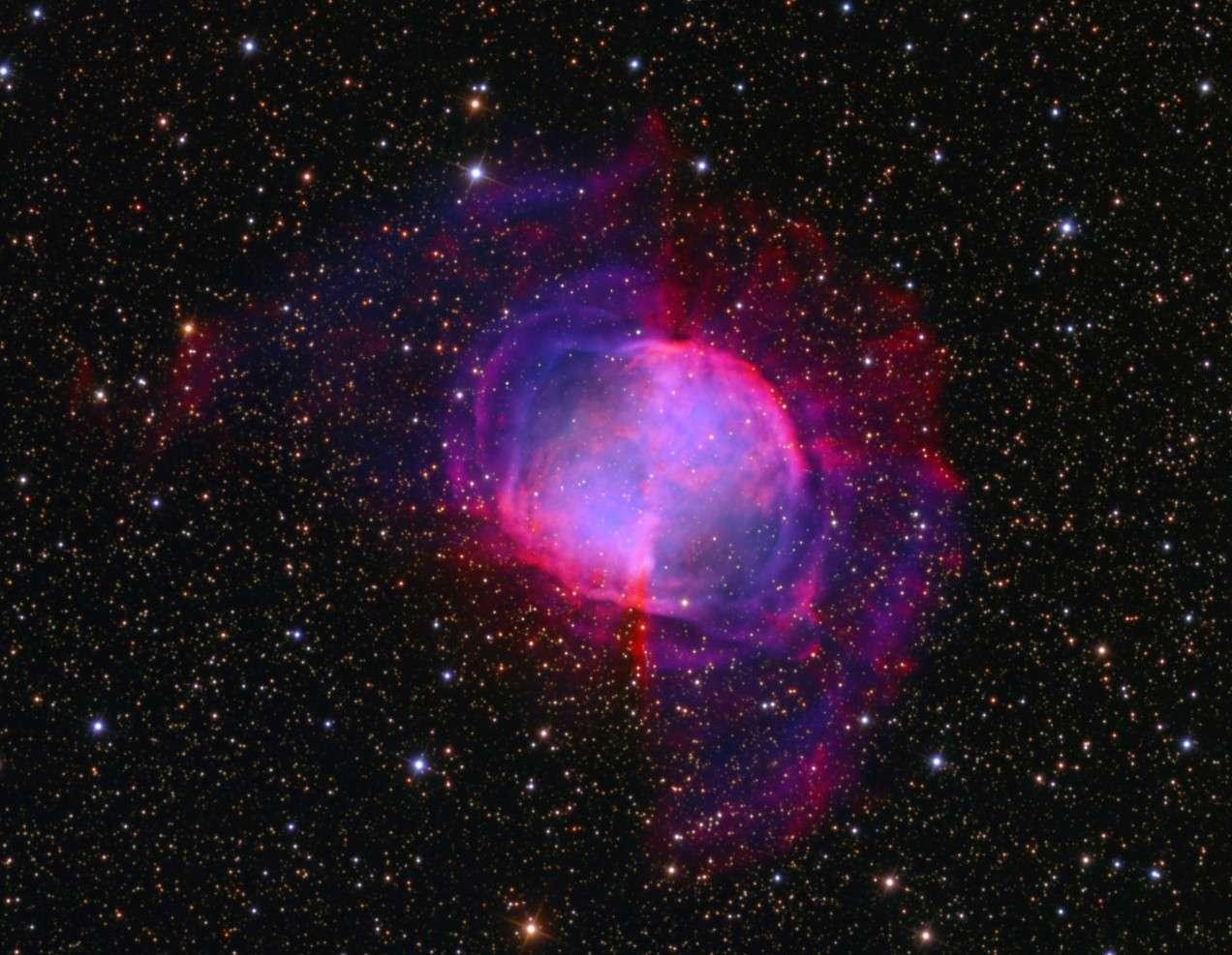 Toute la beauté de la nébuleuse planétaire Dumbbell est révélée sur cette photographie réalisée avec un télescope de 500 millimètres de diamètre et plus de 30 heures de poses. Crédit Ken Crawford