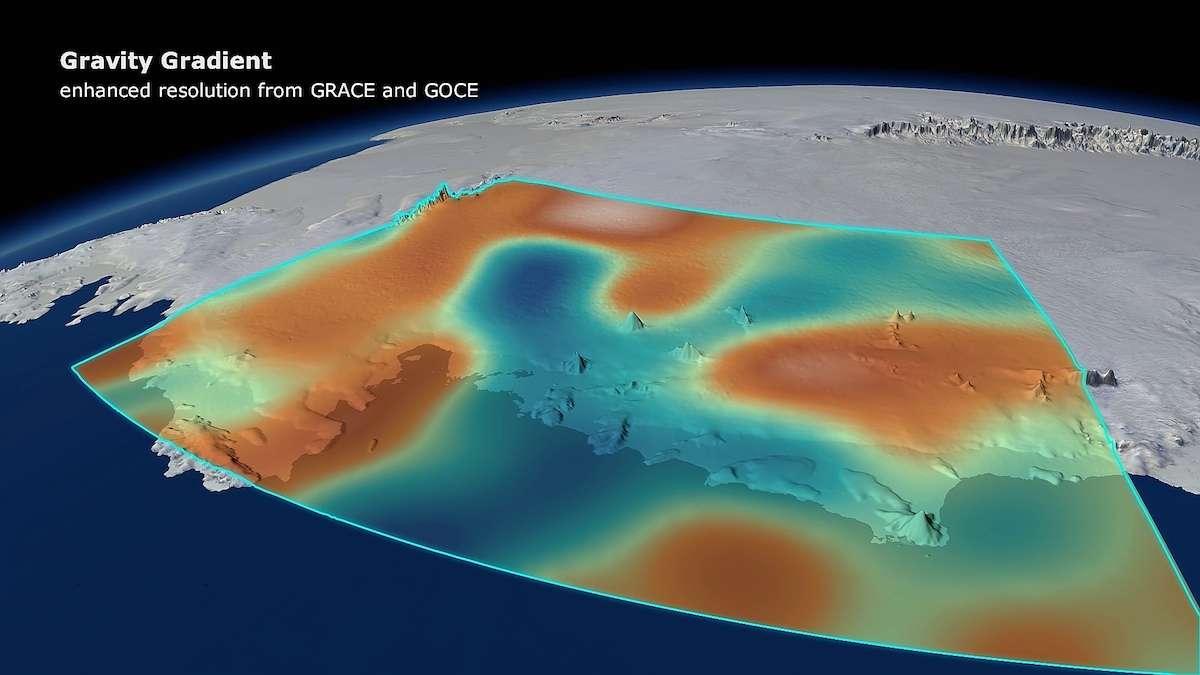 En Antarctique occidental, des modifications du champ de gravité ont été identifiées dans les données acquises par le satellite Goce (Esa) entre 2009 et 2012, recoupées avec celles de Grace (Nasa). La fonte massive des glaces qui recouvrent cette région a modifié la gravité locale. Les taches orangées marquent les régions où elle a le plus diminué. © DGFI, Planetary Visions