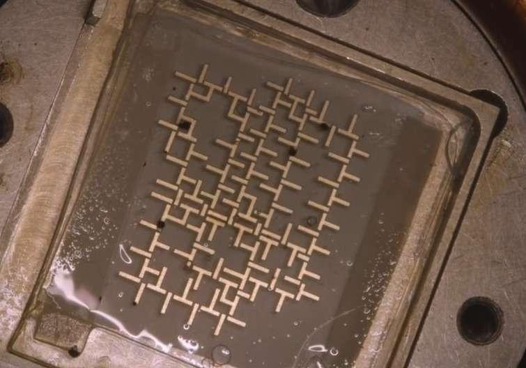 Voici le processeur fluidique mis au point par l'équipe de l'université de Stanford. Sa structure est composée de barres de métal miniatures qui sont disposées de manière à dessiner un circuit logique. Celui-ci baigne dans de l'huile, le tout étant emprisonné entre deux lames de verre. Des gouttelettes d'eau magnétisées sont injectées dans cette structure. Elles sont ensuite manipulées de façon synchrone grâce à un champ magnétique qui permet aux gouttelettes de se déplacer en imitant le comportement du code binaire. © Stanford University