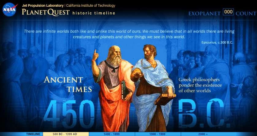 Il y a 2.500 ans environ, les philosophes grecs réfléchissaient déjà sur la nature de la matière, de l'espace, du temps, sur l'origine de la vie et sur la pluralité des mondes. Aujourd'hui nous continuons leur quête d'une vision générale et rationnelle de l'univers et de la place qu'y occupe l'Homme. © Nasa