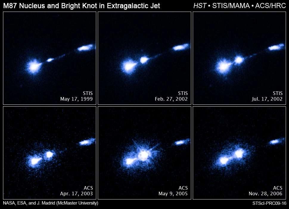 Une série d'images dans l'ultraviolet prises au cours des années par les instruments de Hubble Space Telescope Imaging Spectrograph (STIS) et Advanced Camera for Surveys (ACS). Crédit : Nasa, Esa et J. Madrid (McMaster University)
