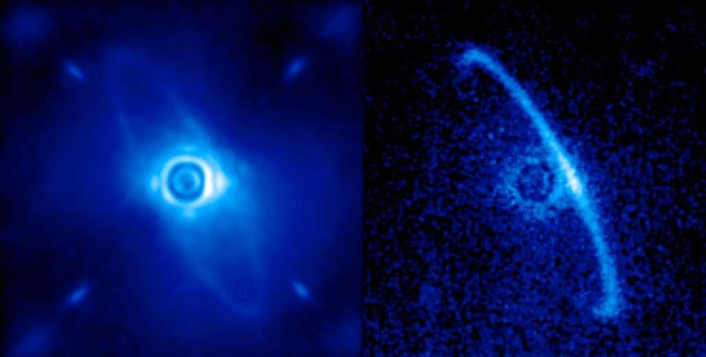 L'instrument GPI a été utilisé pour observer un disque de poussières en orbite autour de la jeune étoile HR 4796 A. Après un premier traitement de l'image, on voit à gauche à la fois un anneau de poussières et la lumière résiduelle de l'étoile centrale diffusée par la turbulence dans l'atmosphère de la Terre. Après traitement de cette image pour ne retenir que la partie polarisée de la lumière (à droite), la présence de l'anneau est beaucoup plus évidente. On pense qu'il est constitué de débris laissés par les collisions entre comètes et astéroïdes lors de la formation des planètes. Il se pourrait que les bords nets de cet anneau trahissent la présence d'une exoplanète. © Marshall Perrin, Space Telescope Science Institute, DOE, Lawrence Livermore National Laboratory