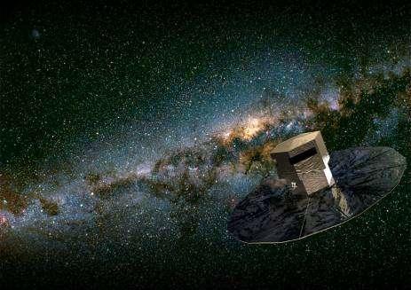 Gaia en train de cartographier les étoiles de la Voie Lactée. Le programme a été approuvé par l'ESA en 2000, et le lancement est prévu pour 2011.