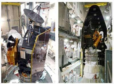 Deep Impact installée dans la coiffe de son lanceur, une fusée Delta II de Boeing. Crédit NASA.