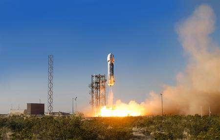 Le New Shepard a décollé depuis le site d'essais privé de Blue Origin, près de Van Horn, dans l'ouest du Texas, aux États-Unis. © Blue Origin