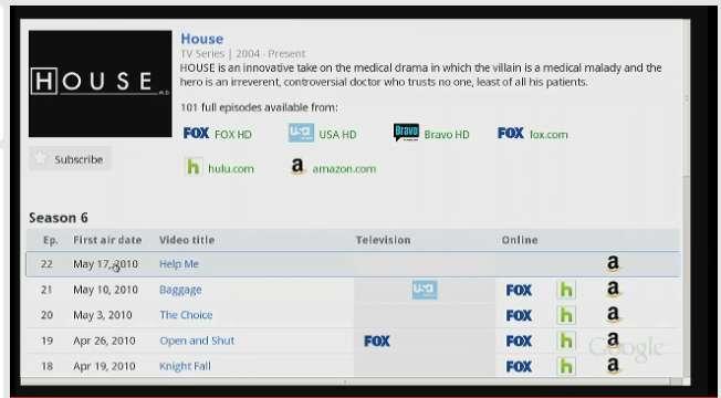 Google TV permet d'entrer le nom d'une chaîne de télévision pour y avoir immédiatement accès, de taper le nom d'une série TV pour voir quand elle sera diffusée... Crédits DR