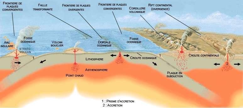 Les fosses océaniques sont une conséquence de la tectonique des plaques. Les principales se trouvent dans le Pacifique, le long de la ceinture de feu. Six d'entre elles font plus de 10.000 m de profondeur (Mariannes, Tonga, Kouriles, Philippines, Bonin et Kermadec). © José F. Vigil, Wikimedia Commons, cc by sa 3.0