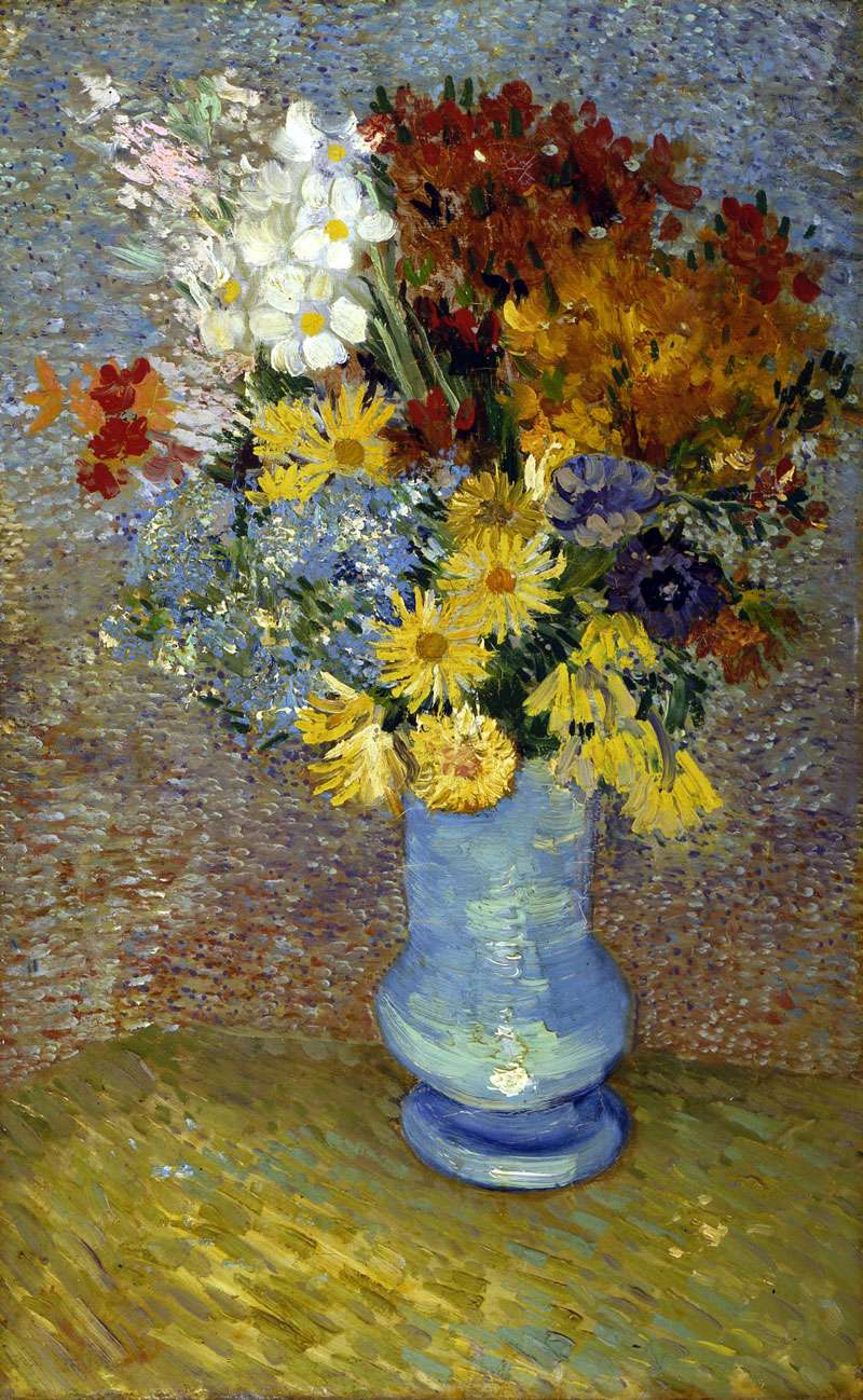 Photographie du tableau Fleurs dans un vase bleu peint par Vincent Van Gogh en 1887. La partie décolorée se situe en haut à droite. © Kröller-Müller Museum