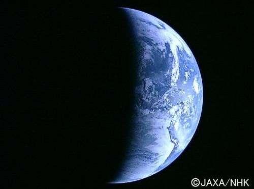 La Terre, vue depuis une distance de 110.000 km par Kaguya. Crédit Jaxa