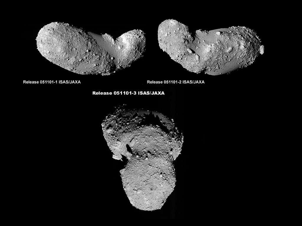 L'astéroïde 25143 Itokawa vu par la sonde japonaise Hayabusa. Crédit : Jaxa