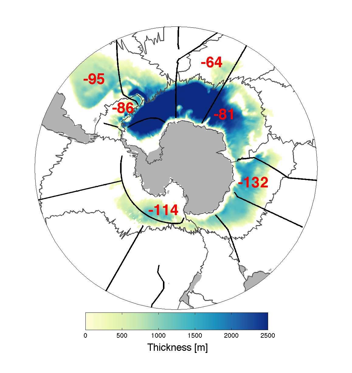 Cartographie de l'épaisseur de la couche d'eau présentant une température de moins de 0 °C dans le fond des océans autour de l'Antarctique (l'eau salée gèle à environ -2 °C). Les chiffres rouges indiquent le nombre de mètres perdus tous les dix ans pour chaque bassin. Ceux-ci sont séparés par les lignes noires. © NOAA