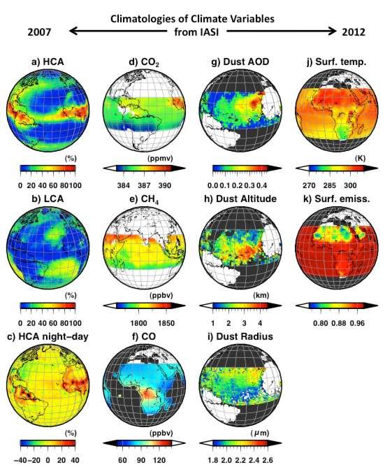 Cartes mensuelles (juillet 2008) des variables climatiques essentielles observées par le sondeur Iasi embarqué sur Metop-A. Disponibles depuis juillet 2007, les observations de Iasi offrent la possibilité de suivre ces variables climatiques essentielles sur le long terme. Légende : distribution des nuages hauts (a), des nuages bas (b) et variation diurne de ces nuages (c) ; contenu en gaz à effet de serre : CO2 (d), CH4 (e) et CO (f) ; poussières désertiques : épaisseur optique (g), altitude (h) et taille des particules (i) ; surface : température (j) et émissivité (k). © LMD/CNRS