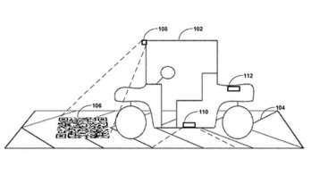 Sur ce schéma, le code QR est représenté directement sur la route. C'est lui qui donne au véhicule les informations sur sa localisation par exemple. La « piste d'atterrissage » permet de réaliser la manœuvre de façon automatisée. © Google Corp.