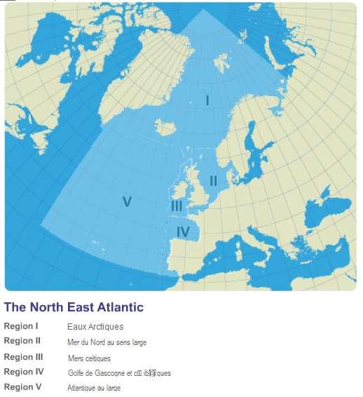 Les zones de l'Atlantique du Nord-Est concernées par la convention. © Convention OSPAR