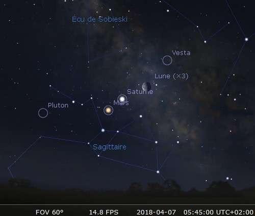 La Lune en rapprochement avec Saturne et Vesta