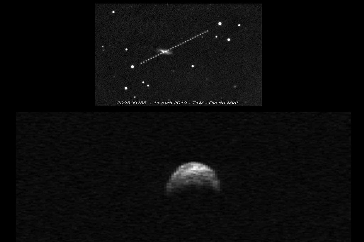 En haut le déplacement de l'astéroïde 2005 YU55 la nuit du 10 au 11 avril 2010 lors de son précédent passage. Image réalisée avec le télescope de 1 mètre de diamètre de l'Observatoire du Pic du Midi. © F. Colas/IMCCE. En bas l'image radar de l'astéroïde fournie par le radiotélescope d'Arecibo quelques jours plus tard. © Nasa/Cornell/Arecibo