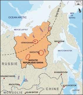 Des tombes dont les corps recelaient des restes du virus de la variole ont été découvertes en Iakoutie, à l'est de la Sibérie, dans trois régions (marquées par les ellipses rouges). © université Paul Sabatier