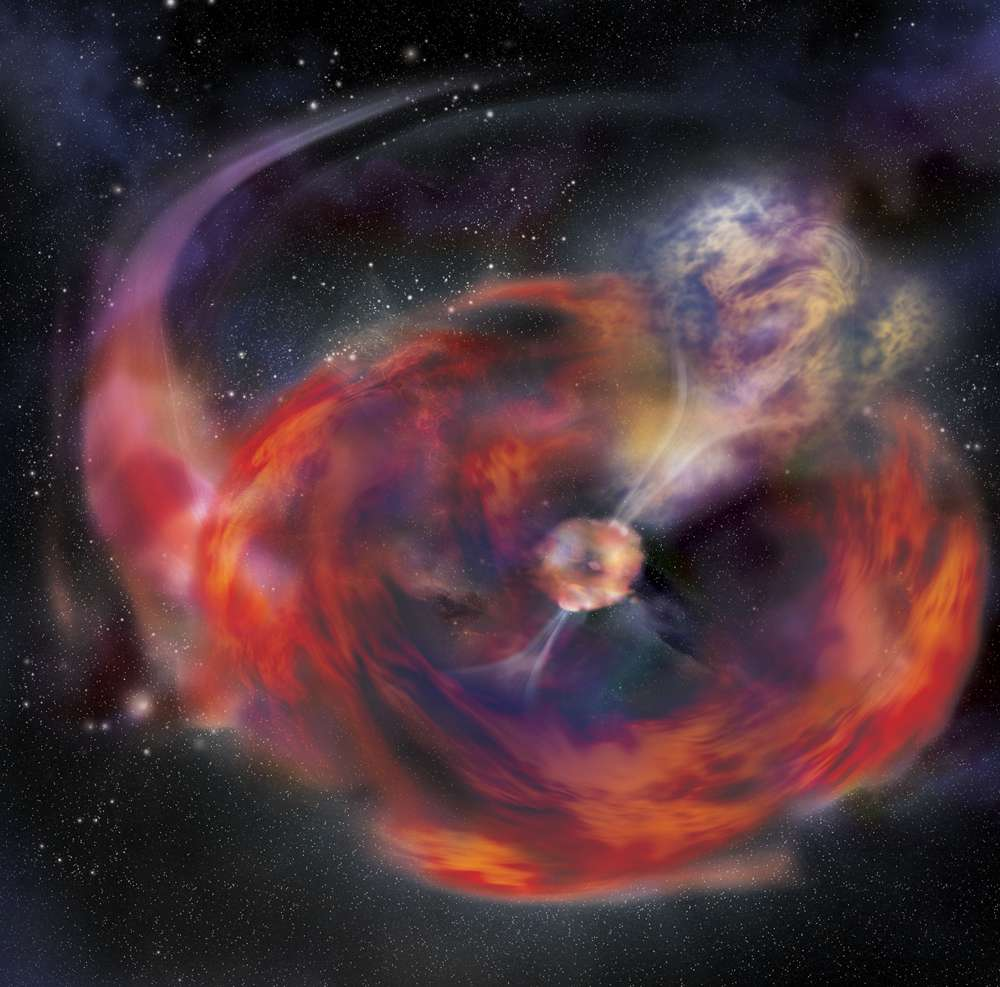 Illustration d'artiste de l'hypothèse de l'engloutissement d'une étoile à neutrons par une géante rouge, expliquant le sursaut gamma de Noël. © A. Simonnet, Nasa, E/PO, Sonoma State University