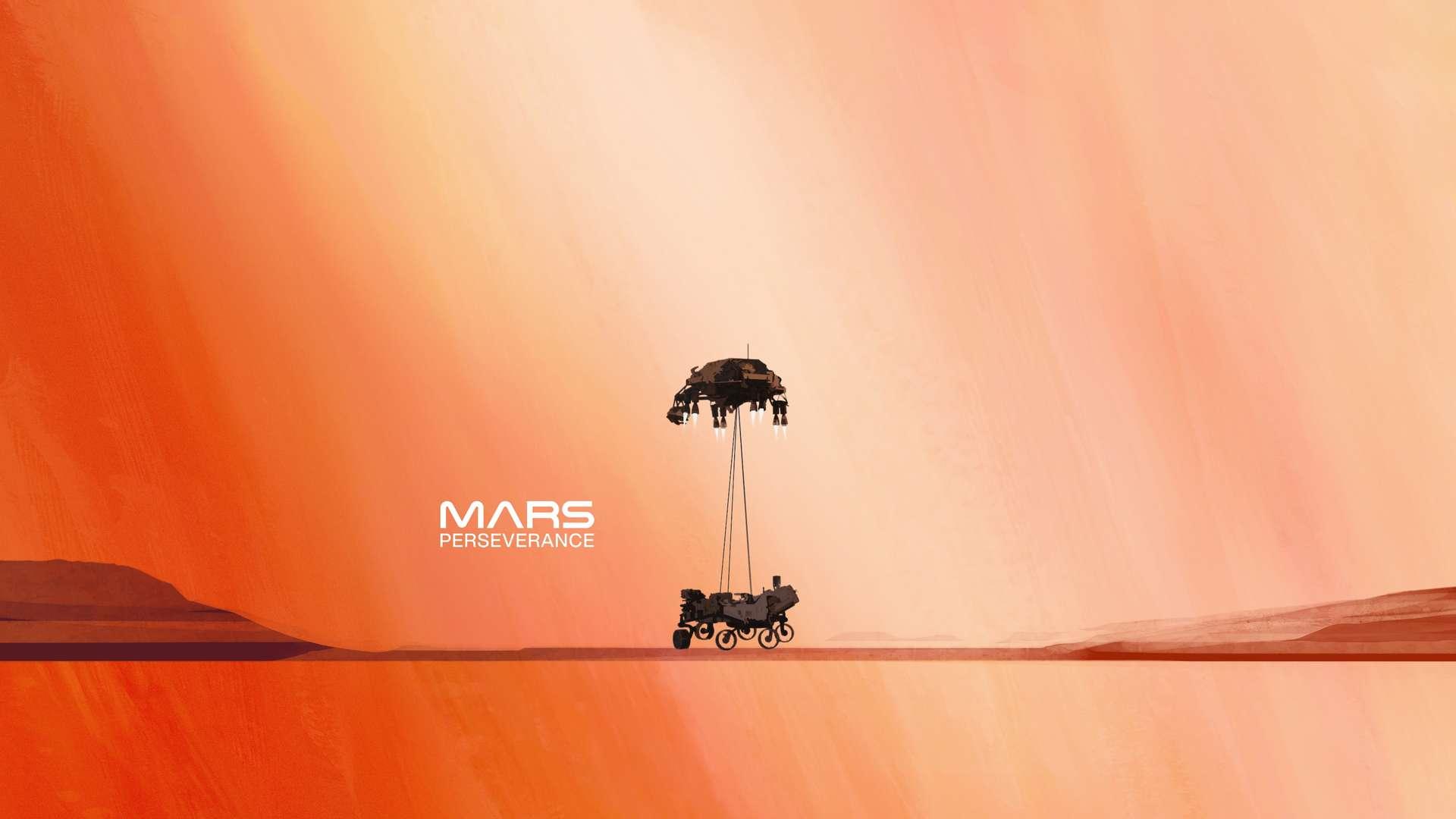 Affiche montrant le SkyCrane débarquant Perseverance sur Mars. © Nasa