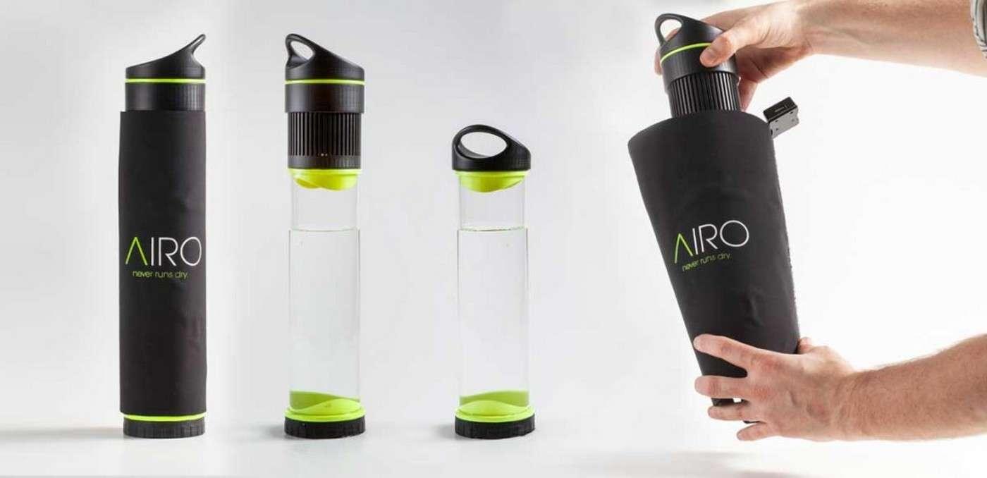 Cette bouteille est reliée à un condenseur qui capte l'humidité de l'air ambiant pour la récupérer et produire ainsi de l'eau potable. © Fontus