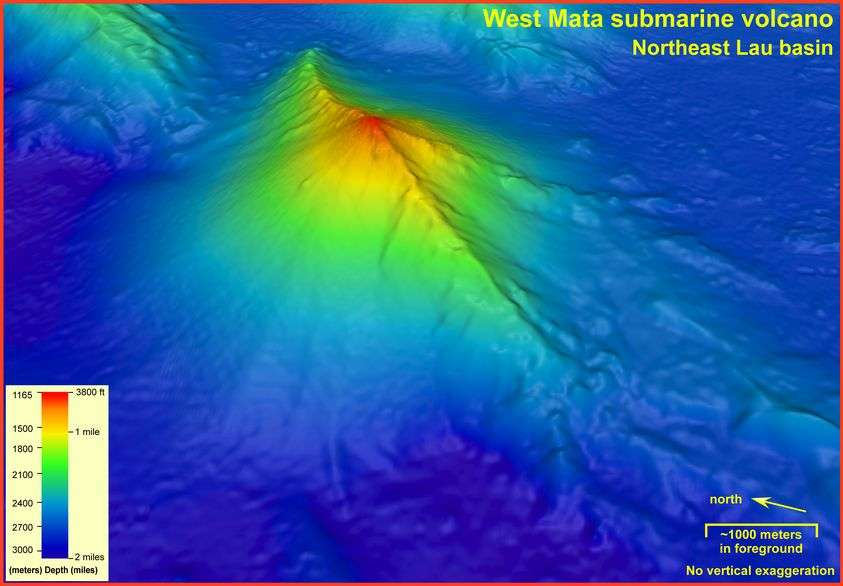 Le volcan sous-marin West Mata. © NOAA