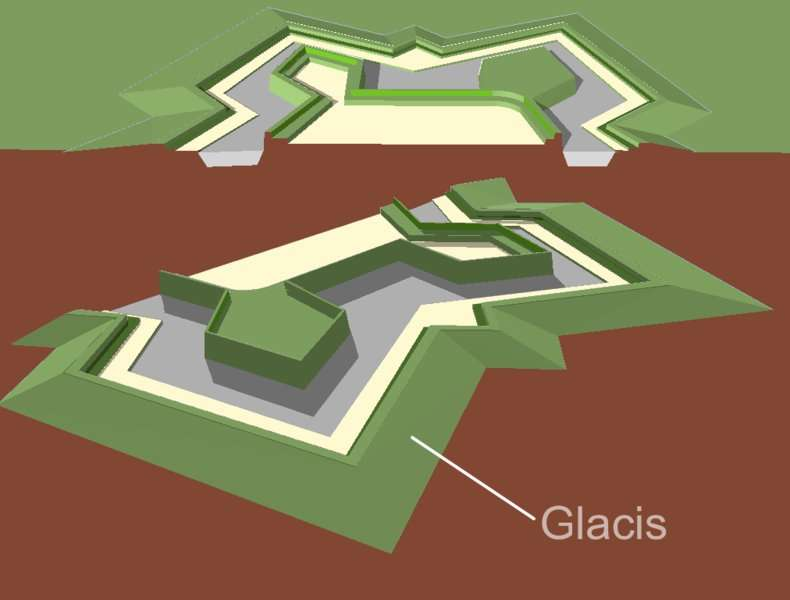 Le glacis est une bande de terre découverte et pentue située à l'extérieur d'une fortification. © Arch, Domaine Public, Wikimedia Commons