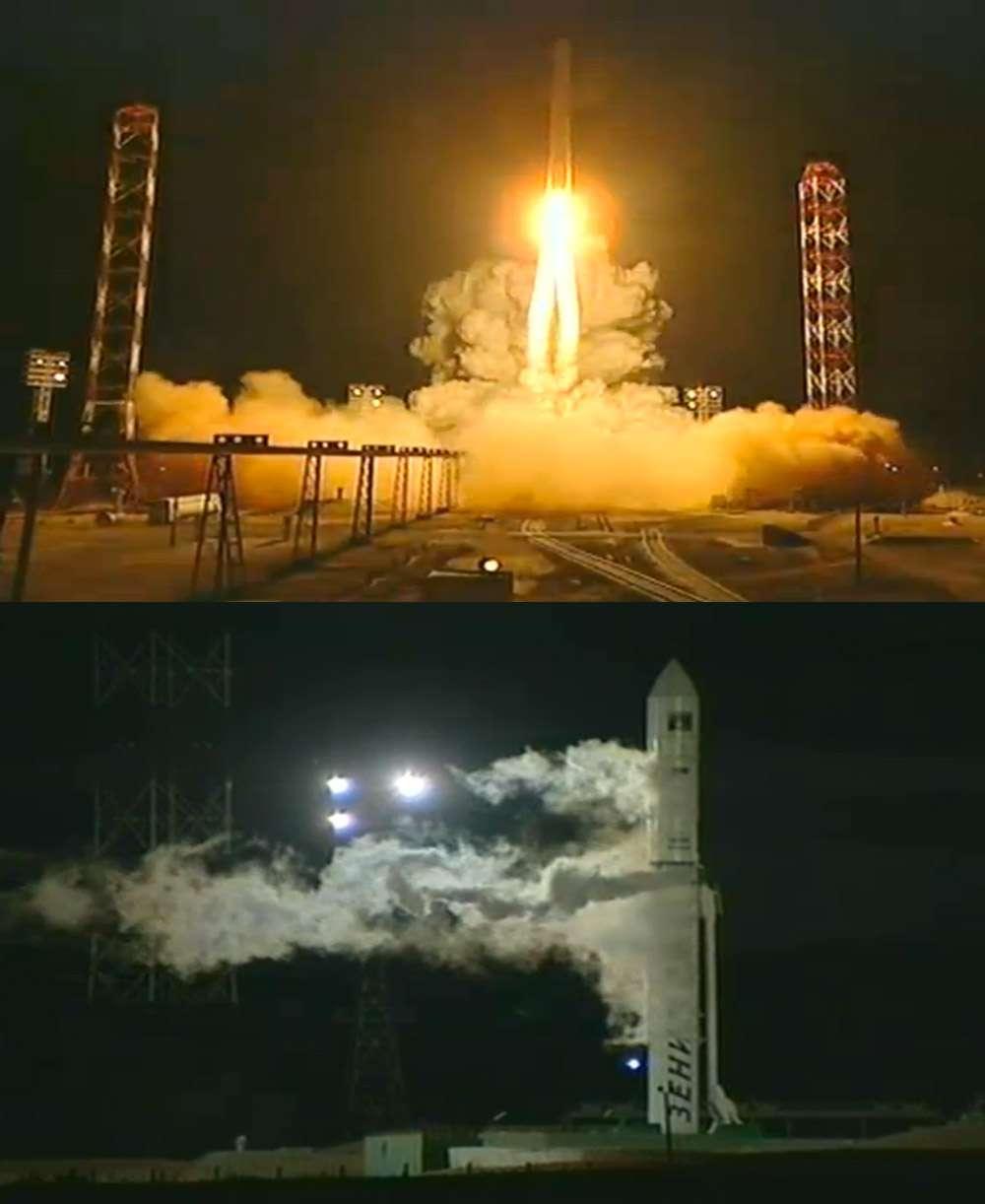 Phobos-Grunt a été lancé dans la nuit de mardi à mercredi. Le lanceur Zenit 2 a décollé à 21 h 16, heure de Paris, depuis le cosmodrome de Baïkonour. Malgré un lancement parfait, la sonde n'a pas réussi à quitter la Terre pour rejoindre Mars. © Roscosmos