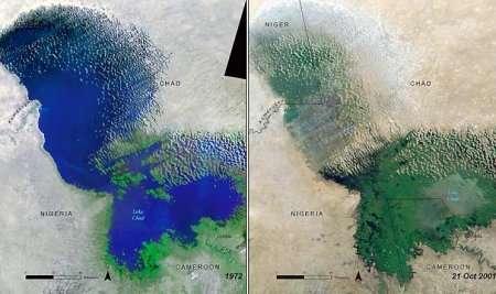 Evolution du lac Tchad entre 1972 et 2001
