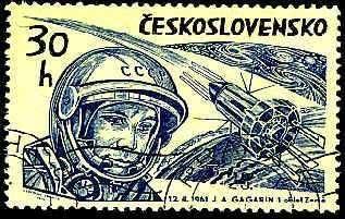 Timbre d'époque à l'effigie de Gagarine. L'aspect du vaisseau Vostok était alors inconnu.