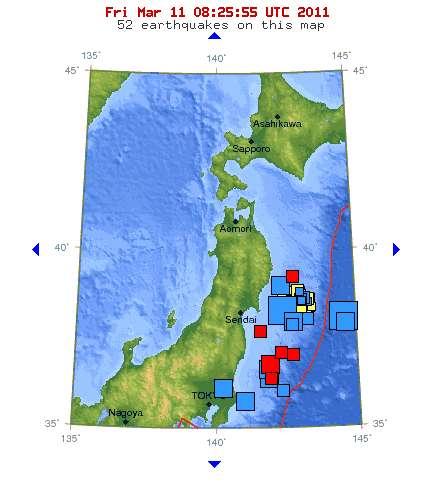 Localisation du séisme du vendredi 11 mars à 8 h 25 TU (9 h 25 en heure française), au nord-est du Japon. Les carrés rouges indiquent les secousses enregistrées dans l'heure précédente, les bleus dans les dernières 24 heures et les jaunes dans la semaine écoulée. © USGS
