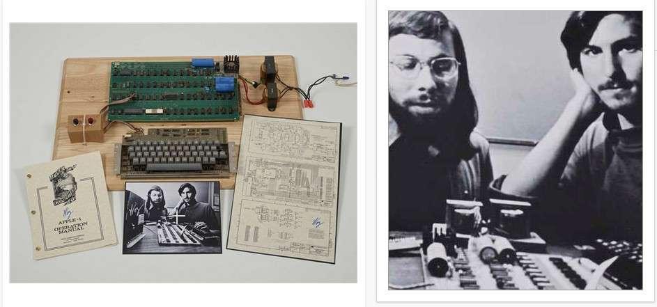 L'Apple I vendu lors enchères sur Internet organisées par Christie's. La carte mère et la documentation d'origine sont signées « Woz », le surnom de Steve Wozniak, l'associé de Steve Jobs qui a conçu et assemblé les premiers ordinateurs d'Apple. © Christie's