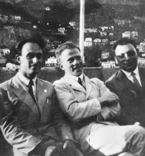 De gauche à droite Fermi, Heisenberg et Pauli. © F D Rasetti AIP Emilio Segre Visual Achives