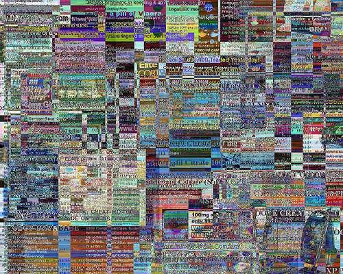 Une image obtenue en agrégeant celles de spams reçus durant 2 semaines seulement... Aujourd'hui, des dizaines de milliards de tels messages sont diffusés sur la Toile chaque jour. Des réseaux d'ordinateurs individuels infectés servent de relais pour ces botnets, régulièrement démantelés, comme Waledac, que Microsoft a détruit en 2010. © Enjoy Surveillance, Flickr, CC by-nc-sa 2.0