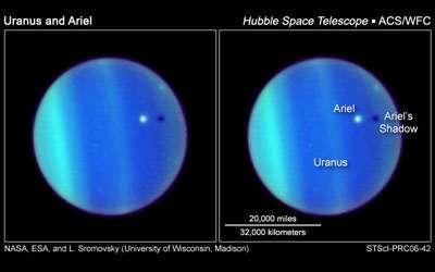 Passage d'Ariel sur le disque d'Uranus, en y projetant son ombre.