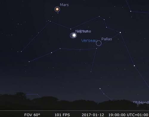 Vénus à sa plus grande élongation à l'est du Soleil et en rapprochement avec Neptune