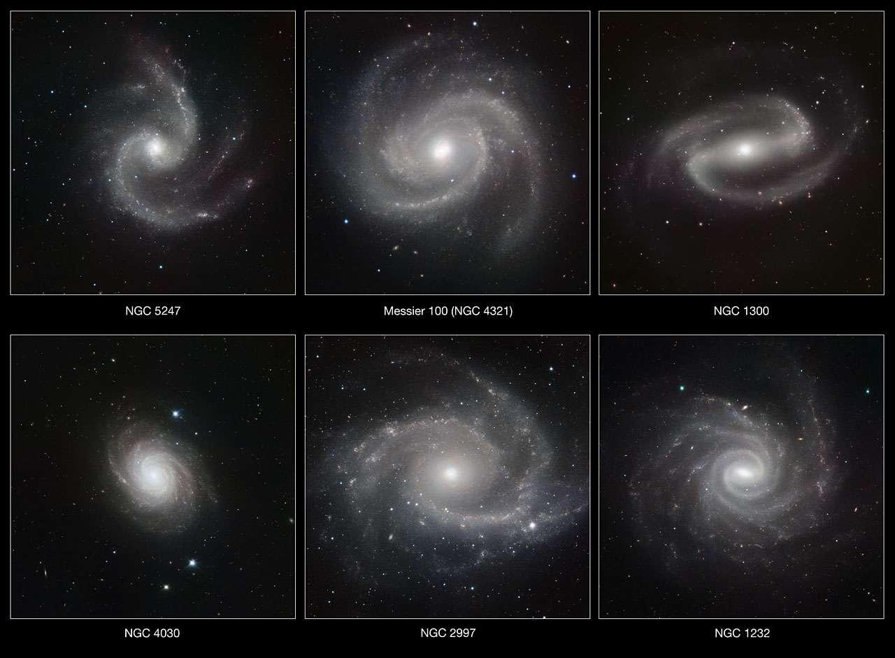 Six photos de galaxies prises avec le Very Large Telescope (VLT) de l'observatoire du Paranal au Chili. Les photos ont été prises dans l'infrarouge, grâce à l'HAWK-I © ESO/P. Grosbøl