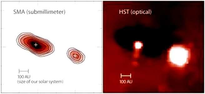 Dans le domaine submillimétrique, les deux disques de poussière autour des étoiles de 253-1536 sont clairement visibles à gauche, si on compare l'image obtenue avec Hubble à droite. Crédit : University of Hawaii, Nathan Smith, University of California at Berkeley