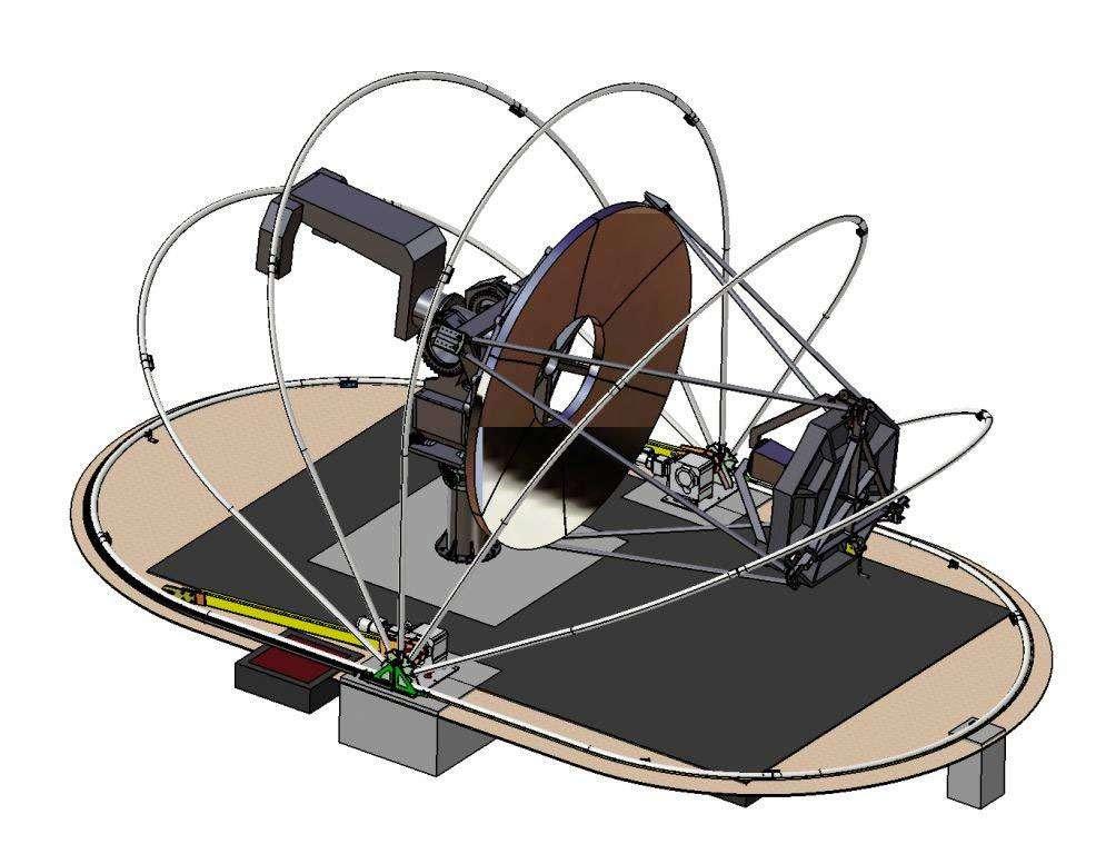 Le prototype SST (Small Size Telescope) en cours de réalisation à l'observatoire de Meudon préfigure le futur grand observatoire des rayonnements gamma aux très hautes énergies. © Observatoire de Paris