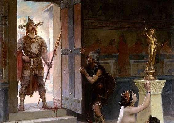 Le chef de guerre gaulois Brennus s'emparant d'un butin. Il porte notamment une lance, réservée aux plus hauts rangs des guerriers gaulois. © Paul Jamin, Wikimedia Commons, DP