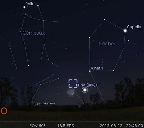 La Lune en rapprochement avec Jupiter, Alnath et la nébuleuse du Crabe