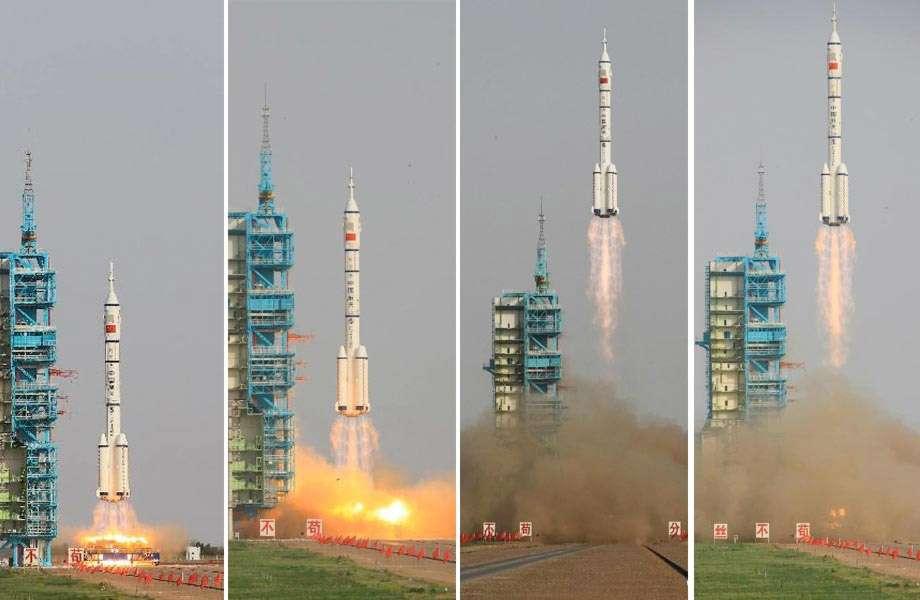 La capsule habitée et son équipage de trois membres ont été lancés par un lanceur Longue Marche 2F samedi 16 juin depuis le Centre de lancement de Jiuquan. Pour la Chine, il s'agit de la première mission de transfert d'équipage et de fret à destination du module Tiangong-1. © Xinhua/Li Gang