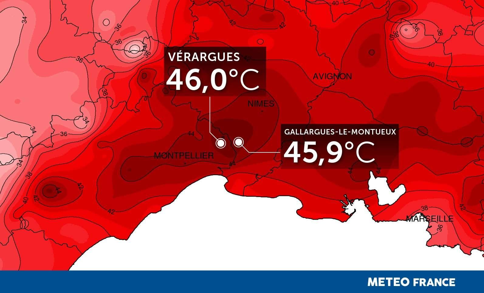 46 °C ! C'est le record de température maximale historique en France enregistré le 28 juin 2019 à Vérargues, dans l'Hérault, durant la canicule. © Météo-France